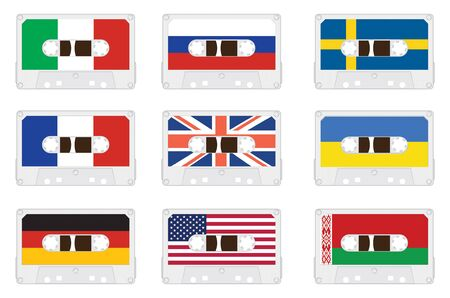 Audio cassette with flags. Vector