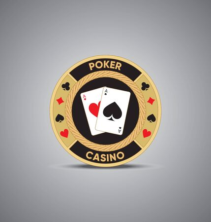 Golden poker chip - Vector
