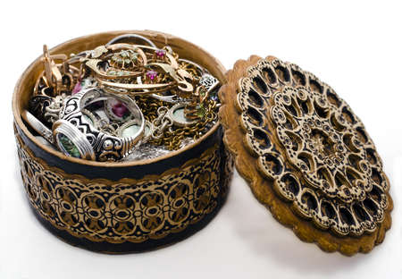 ear ring:  wooden casket  chest with valuables Stock Photo