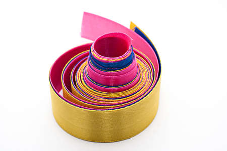 hank: Hank of multi-colored satin ribbons on a white background  isolated Stock Photo