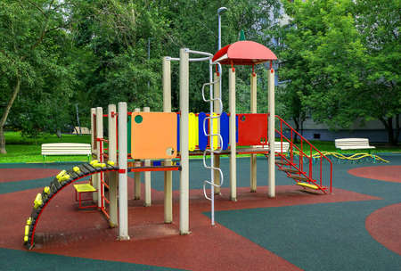 Children playground in the park in summer