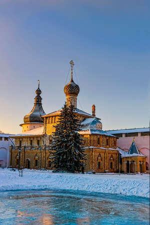 Orthodox circuses clear winter it is lit with the setting sun in the evening
