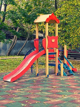 epty children playground in the yard Stok Fotoğraf