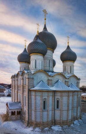 Assumption Cathedral of the Rostov Kremlin in the winter against a decline