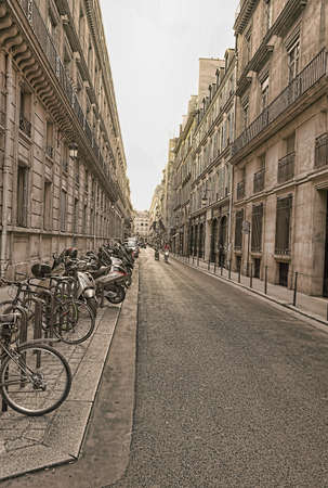 the street in Paris in cloudy day