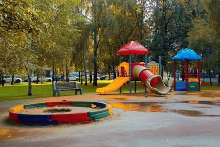 empty Playground in park after a rain