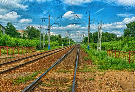 Railway tracks in the summer