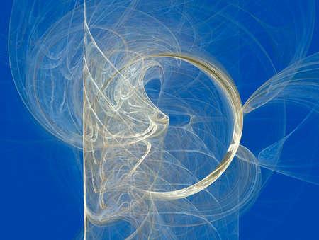 Light waves and light circle on a blue background Stok Fotoğraf