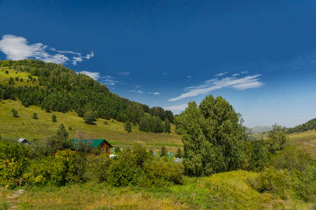 Apiary in mountains in summer day