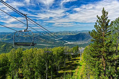 ski lift: ski lift mountain in summer Stock Photo