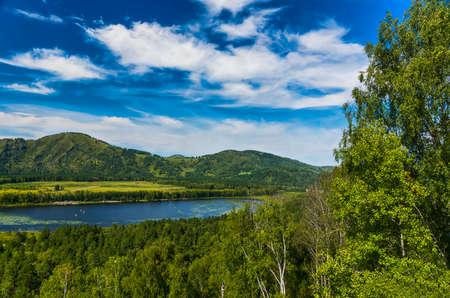 mountain lake in summer day Stok Fotoğraf
