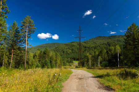 electric line  in the mountain in summer day