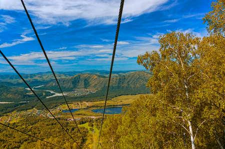 ski lift mountain in the fall