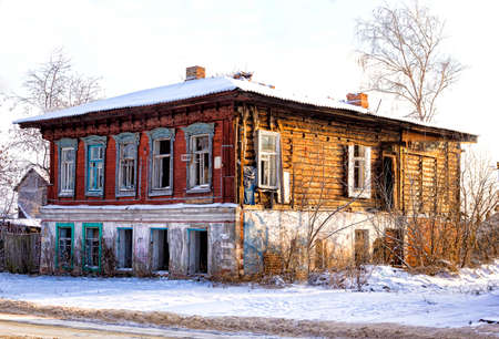 aeration: the broken Old merchant house in Russia Stock Photo