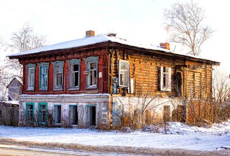 the broken Old merchant house in Russia Stok Fotoğraf