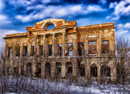 the broken Old noble house in Russia Stok Fotoğraf