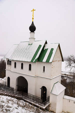 church over entrance gate of the orthodox monastery