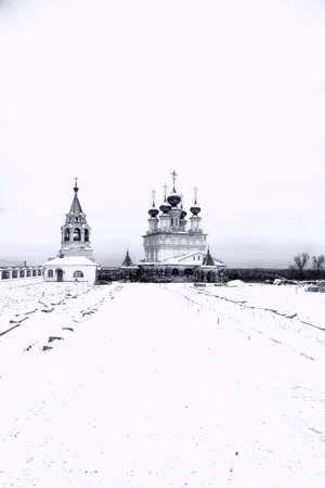 main church of the orthodox monastery in the winter Stok Fotoğraf