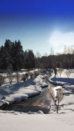 the river bears waters in the winter frosty afternoon Stok Fotoğraf