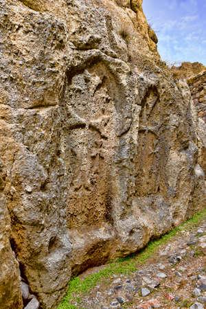 Carved crosses on the rock. Gegard. Armenia Stok Fotoğraf