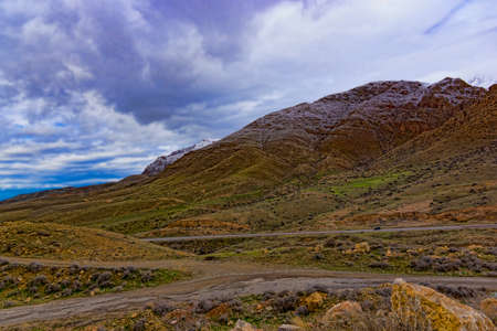 the road in the mountains of Armenia in the spring Stok Fotoğraf - 58146990