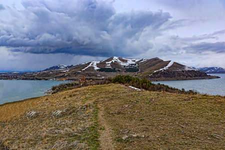 The peninsula on the Lake Sevan in the spring Stok Fotoğraf - 58817631