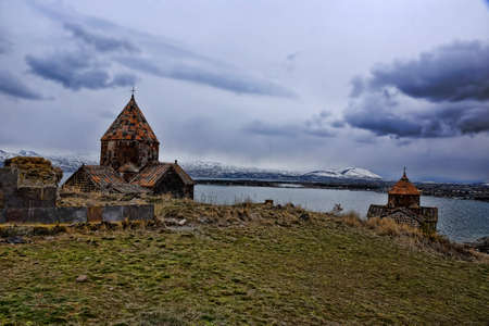 The ancient monastery on the bank of the Lake Sevan