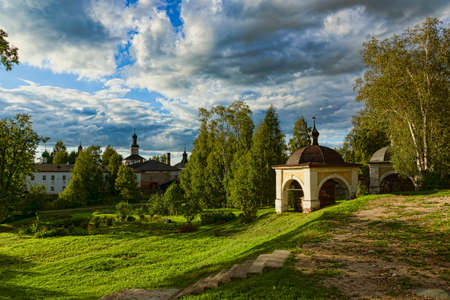 the Ancient Russian northern monastery  in summer Stok Fotoğraf