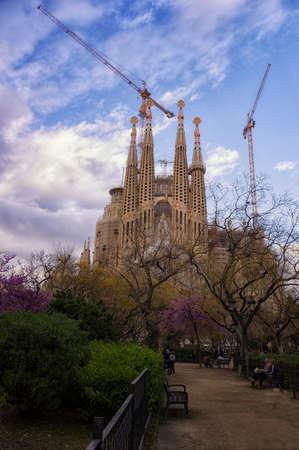 Sagrada familia barcelona spain in the spring