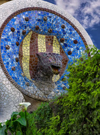 The fountain in modernist style in Guell Park in Barcelona Editöryel
