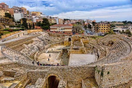 Spain, Tarragona, ancient Roman amphitheater in spring