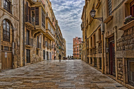 Tarragona narrow street Stok Fotoğraf - 75674134