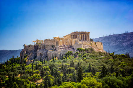 View of the Acropolis of Athens, Greece, in the Summer,