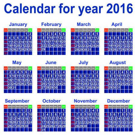 Calendar for 2016 Stock Vector - 21961216