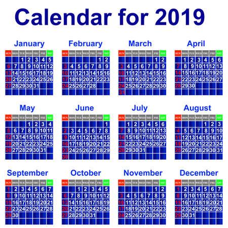 Calendar for 2019 Stock Vector - 21960961