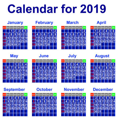 Calendar for 2019 Stock Vector - 21960961