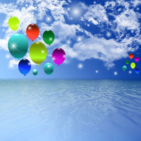 the animated film: Balloon, Celebration, Group, Event, Festival, Colour, Fun, Party, Gely, Birthday. Stock Photo