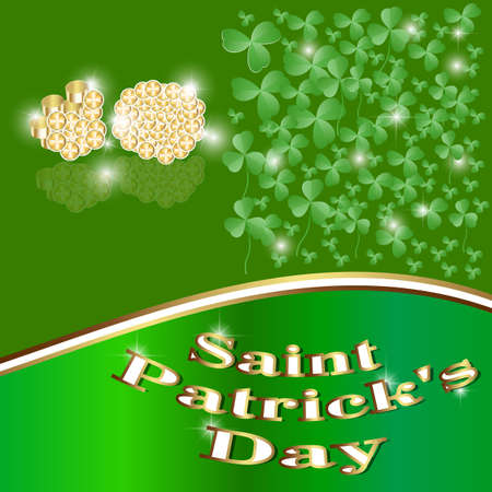 traditionally irish: St Patrick Put, the Clover, Good luck, Traditionally Irish, Gold, the Coin, Four, Flora,  the Form of a leaf of a clover. Illustration