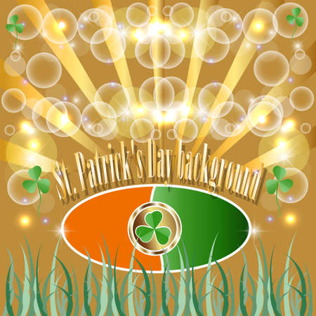 traditionally irish: St Patrick Put, the Clover, Good luck, Traditionally Irish, Gold, the Coin, Four, Flora, the Background, the Form of a leaf of a clover. Illustration