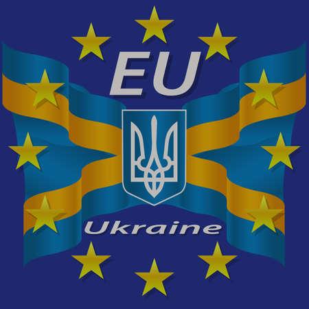 Europe, Corporation, Logo, Symbol, Tourism, Ukraine,  Banner, Crest, Yellow, Gesture. Illustration