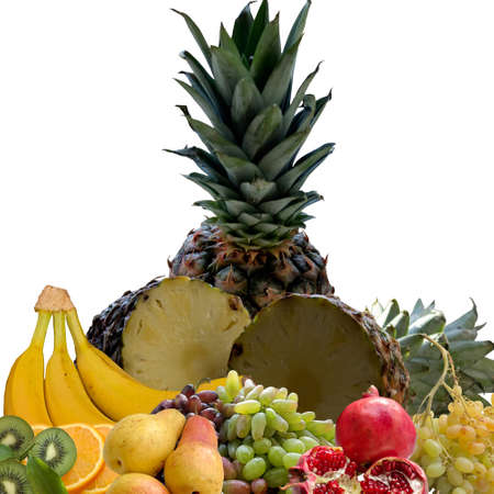 foodstuff: Kiwi, Banana, Pomegranate, Tangerine, White, Vitamin, Tasty, Foodstuff, Tropical, Fruit, Exotic. Stock Photo