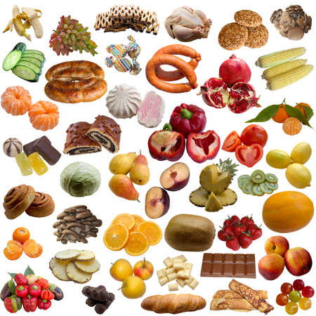 whiteness: Meeting, House cookies, Banana, Dessert,  Food, Meat, Fruit, Grapevine, Group,  Ingredient Isolated.
