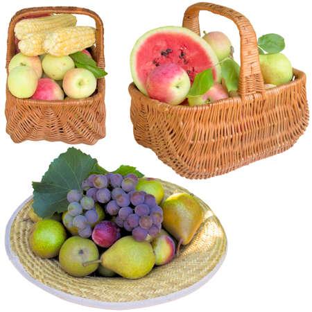 apples basket: Fruit, apples, basket, water-melon, healthy, apple, plums, grapes, is fresher, corn.