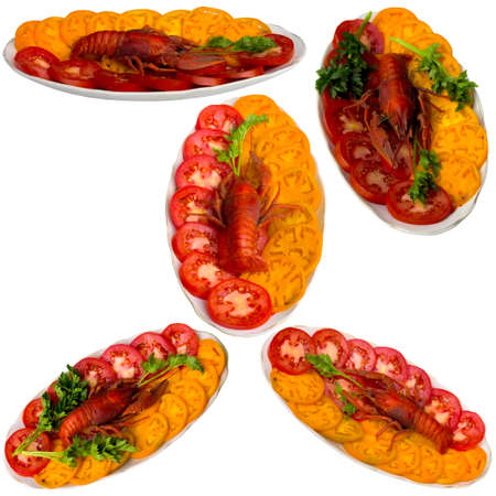 delightful: Close up, cancer, food, sensitivity, parsley, tomatoes, delightful, plate, claw, green.