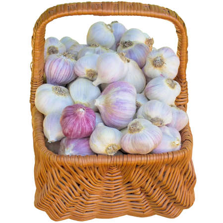 seasoning: Garlic, meals, seasoning, white, basket, closeup, isolated, ripe, nobody, natural. Stock Photo
