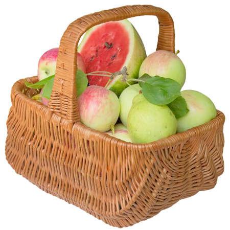 apples basket: Fruit, apples, basket, water-melon, healthy, apple, red, fresh, food, sweet. Stock Photo