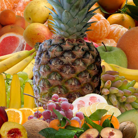 tropics: Pineapple, bananas, grapes, apple, exotic, fruit, tropical, tropics, juicy, fresh. Stock Photo