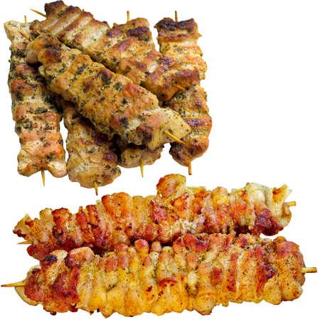 kabob: Kebab,  skewer, kabob, grill, grilled, shashlik, lamb, chicken, turkish, plate. Stock Photo