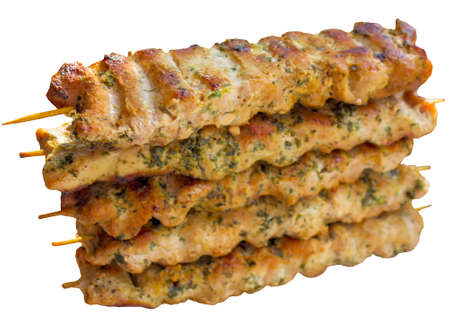 plate of food: Kebab,  skewer, grill, grilled, shashlik, lamb, chicken, turkish, plate, food. Archivio Fotografico