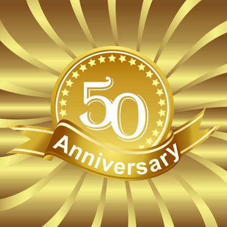 50th: 50th anniversary ribbon logo with golden rays of light.